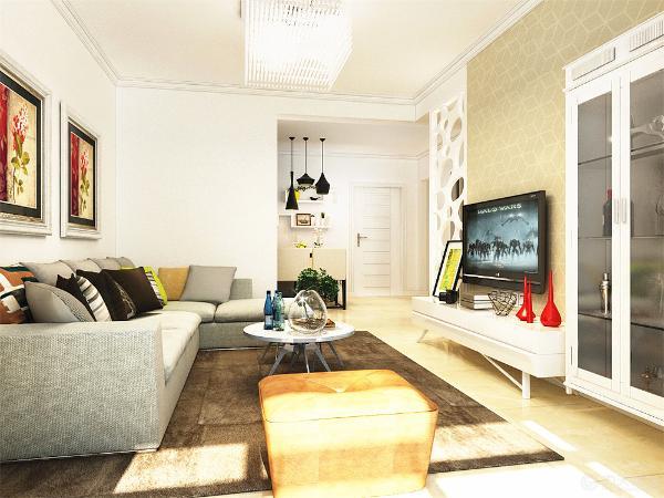 客厅方面,我选用的是灰色布艺沙发,配上褐色的地毯与墙面有一些区分更显层次感,电视墙方面用的是壁纸。