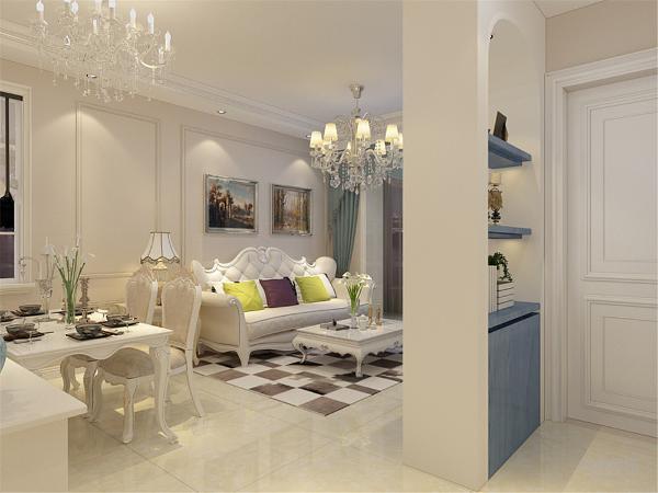 客厅吊顶使用回字形吊顶内圈石膏线装饰.影视背景墙使用壁纸装饰.