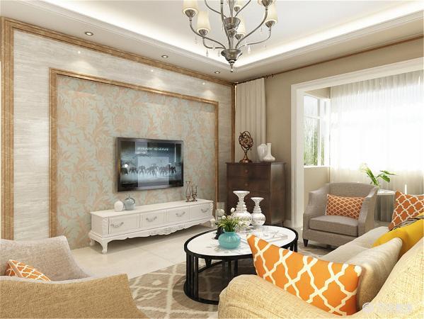 布局上客厅很大所以采用了U型家具排布,顶面的造型则是界定出了各自的空间将其融入整体。家具选用简洁的简欧家具,室内色彩遵循传统欧式色调但又比较明快。