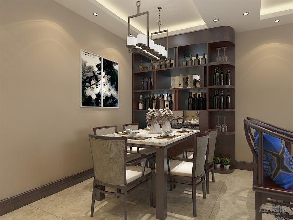 整个客餐厅中式风格家具,洁净大方,木质感充足,电视背景墙用了中式的壁画和木框造型,更加突出中式的风格,整体风格突出美观;