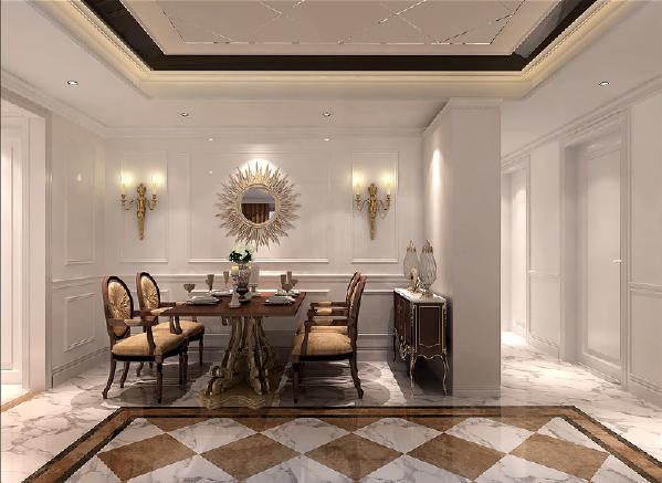 整体家居选用深、浅咖网大理石、金箔壁纸、马赛克壁画等装饰性材料。