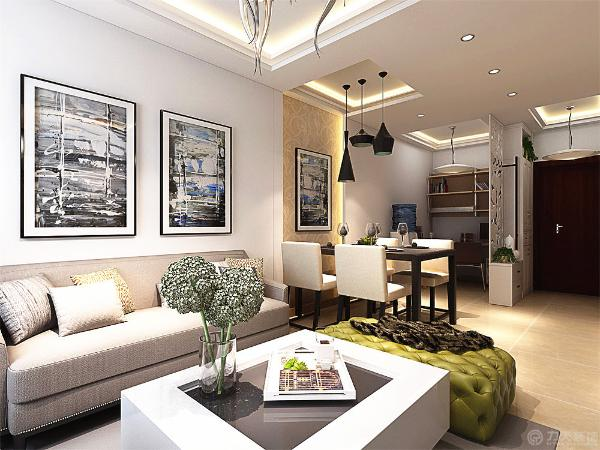 沙发的选择则以现代的沙发为主,电视背景墙则设计成采用欧式的印花以及大理石上墙的方式来做成背景,