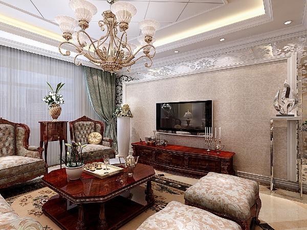 本户型整体色调以白色为主,白色的吊顶以及石膏线,家具则采用木色的条纹进行选择。地面则采用大理石拼花的设计,充分体现了欧式设计的美感和豪华。
