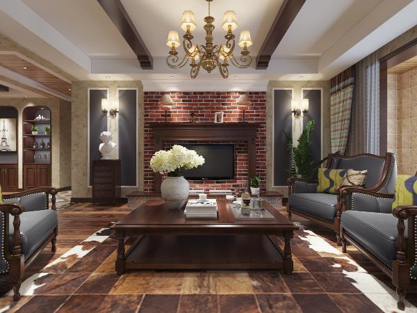 电视墙是通过与家具的色彩搭配体现了自然、质朴的气息,整体看上去更贴近大自然。