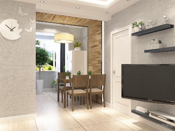 餐厅内餐桌的选择为简单的木质餐桌椅,既实用又不会使空间拥挤