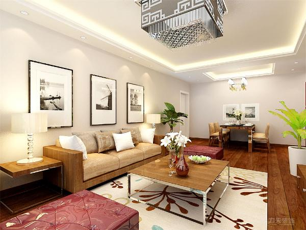 电视背景墙的设计则采用木质的木框进行装饰。与地面以及家具采用相同的色调,突出整个户型的整体性,窗帘则采用深色的窗帘进行装饰。