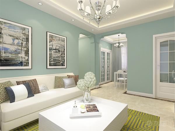 客厅部分的电视背景墙采用黑白对比的色彩搭配手法,显得清新时尚。沙发部分选用白色沙发,其他色彩用作点缀,配合绿色地毯色彩搭配明快。