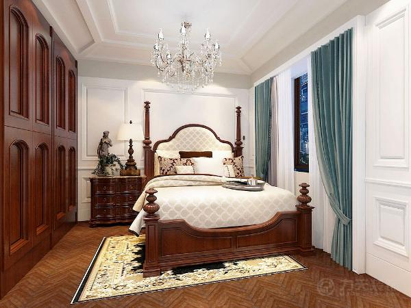 次卧和书房则是以木色为装饰,白色为主体大量使用了石膏、护墙板的造型使得的空间大气豪华。