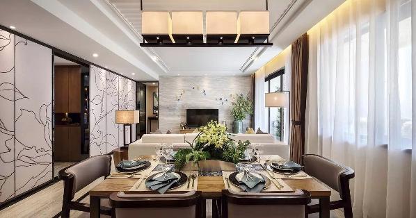 350平米亚运新新家园 样板间定制 新旧交融中国风