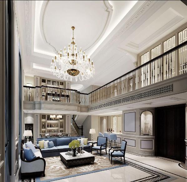 挑空别墅装修法式浪漫风格设计方案展示,上海腾龙别墅设计师劳纳作品,欢迎品鉴!