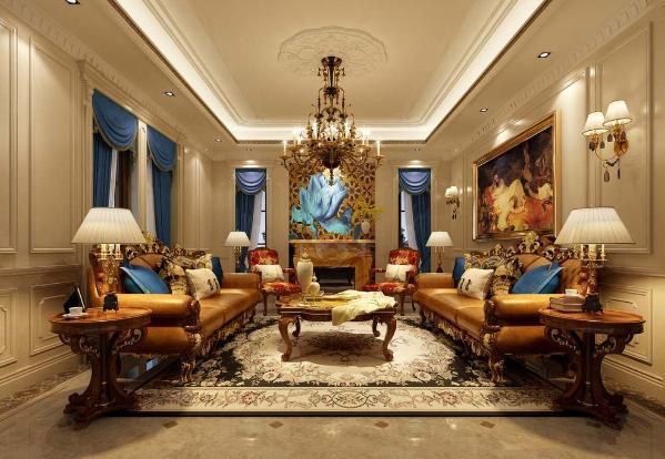 鑫湖坊400平别墅户型装修新古典欧式风格设计方案展示,上海腾龙别墅设计师劳纳作品