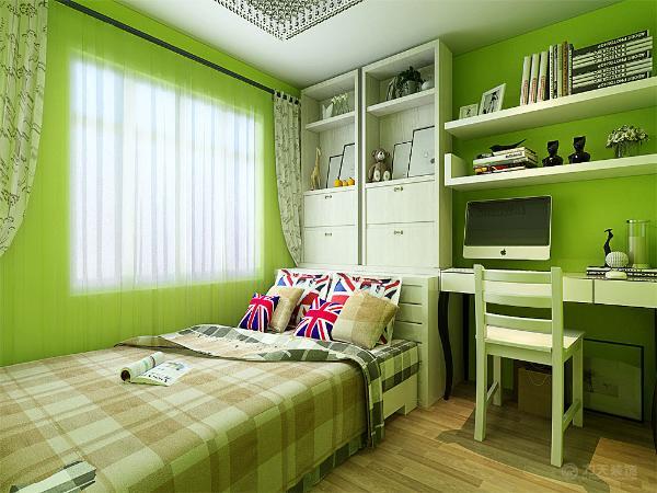 。儿童房的设计方面采用了柠檬黄以及绿色相结合的颜色进行粉刷,突出一种积极向上的环境。