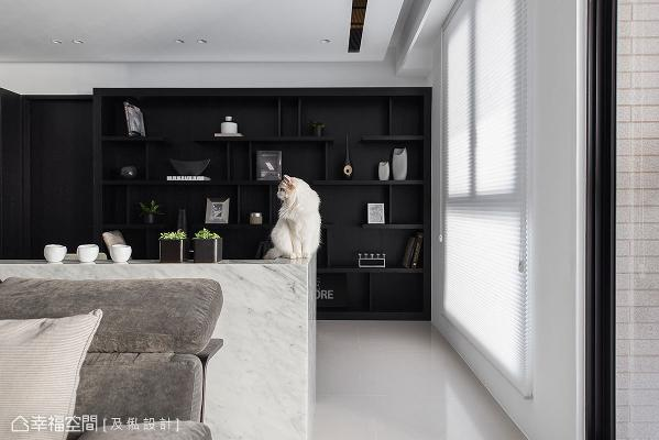 由于弹性间隔的规划方式,让书柜同时拥有猫跳台机能,屋主的两只爱猫得以自在走动、休息。