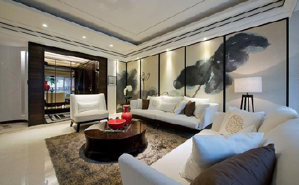 本案采用的是中式风格和现代风格相融合的新中式设计风格,格调高雅,造型简朴优美,色彩浓重二成熟,凸显深厚沉稳的底蕴。