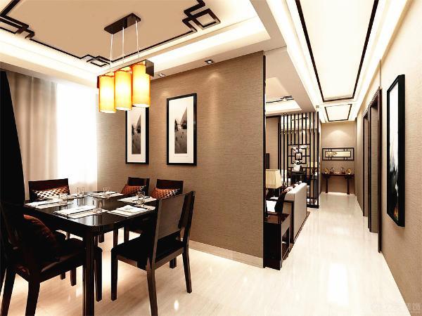 过廊的设计采用吊型顶加以木格杉再将灯带暗藏于顶内使得光线美凸显。廊的尽头放置一个具有中式元素的案,搭配了风格。