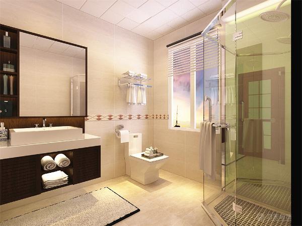 卫生间选择浅色地砖搭配偏东南亚风格的洗手盅。棚顶选择集成吊顶来装饰。