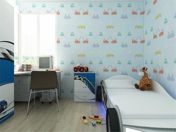 儿童房的空间上因为孩子比较喜欢汽车,所以在设计方面采用的是汽车造型的单人床,并且衣柜,写字台,床头柜等家具的外表也用一些汽车图案来装饰,儿童房的墙面则是采用的壁纸。