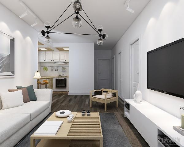 客厅电视背景墙采用了独立的白色简洁布置,整洁大气。正对着的沙发采用欧式风格的布艺沙发,保证了空间的协调性。使客厅空间的整体对比非常融洽。其他墙面通刷乳胶漆,简单明亮。