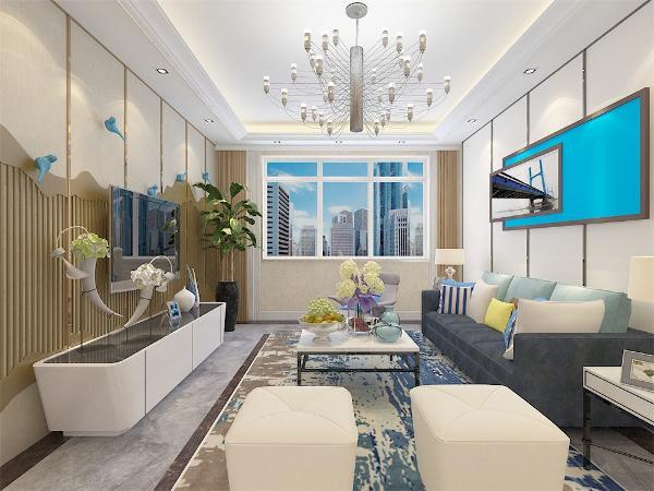 客厅作为待客区域,空间布局合理,用灰色地砖,搭配软装,使整体看着宽敞明亮颜色搭配分明。