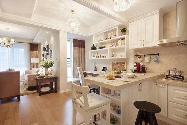 餐厅米白色的吧台作为餐厅温馨雅致,同时兼具隔断作用,只是书房工作区距离厨房太近了,是一大败笔,工作的时候都能闻到炒菜的味道,还能愉快的玩耍吗?