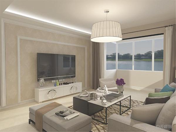客厅以浅色系为主,客厅影视墙利用石膏线构成的曲线让