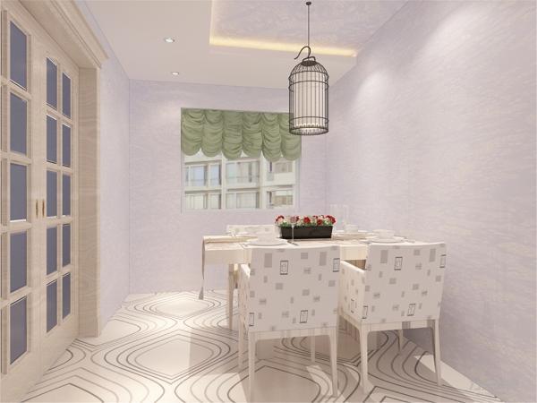 在餐厅的设计中,采用了绿色系的窗帘搭配木制四人餐桌。白色和明亮玻璃的结合创造出了现代的洁净与明亮。