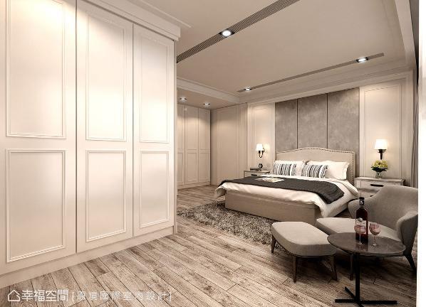 主卧室运用纯净的色调,渲染简约无华的调性,也让休憩空间纯粹干净。 (此为3D合成示意图)