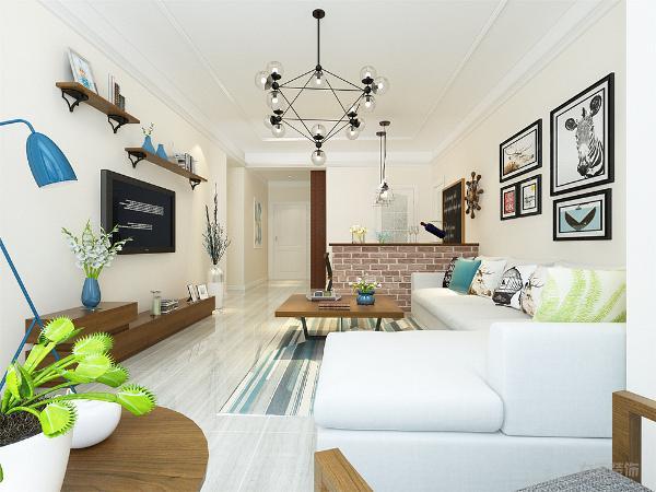 选取了浅色拐角沙发配合清新颜色的抱枕,背景墙搭配具有北欧特色的装饰画,配合蓝色地毯.