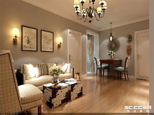 升龙汇金广场三期-简约法式风格装修两居室