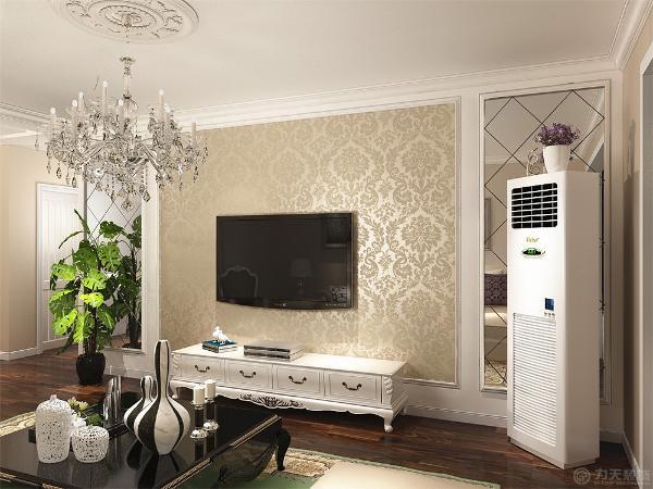 客厅运用了圈顶石膏线的造型设计。