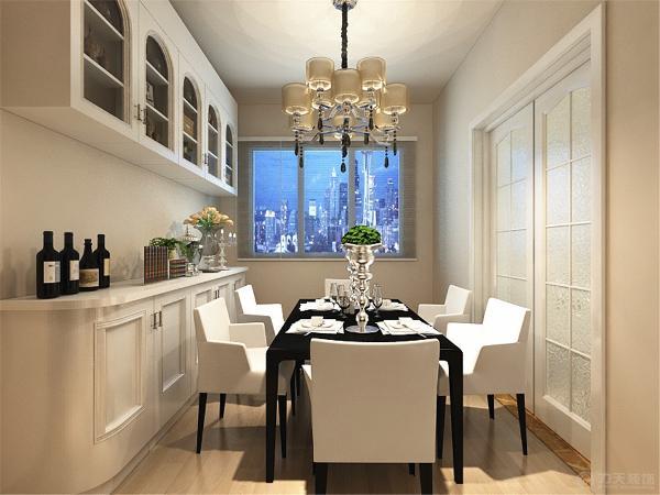 餐厅突出简洁的形式,素色的壁纸和简洁的餐桌,即使在小的空间也做到简约,实用。