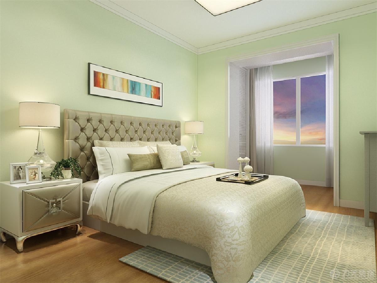 主卧室刷果绿色乳胶漆.床头背景简单的挂画.儿童房顶