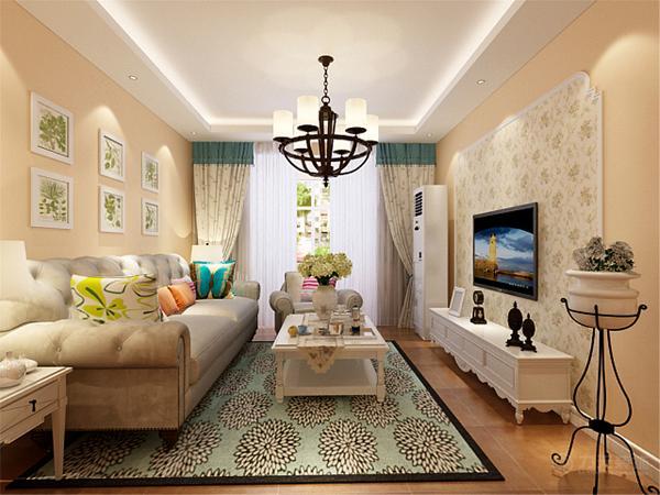 电视背景墙采用拱形的石膏线圈边,里面碎花壁纸,吊顶采用回字形吊顶,整体感觉清新淡雅。室内多放置绿色植物和白色的木材。