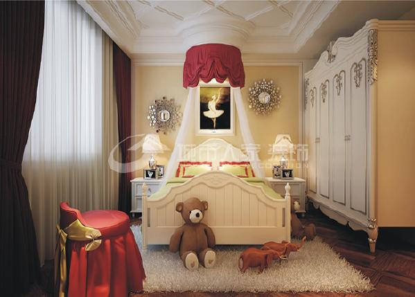 女儿房的设计简单明了,在顶面上丰富了空间层次感,主要也是整体家具和材质的搭配,使整个空间显得温馨舒适,而又不失古典主义的优美。