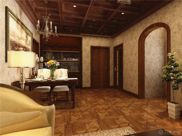 餐厅背景墙面简单壁纸做造型,整体墙面选用美式壁纸