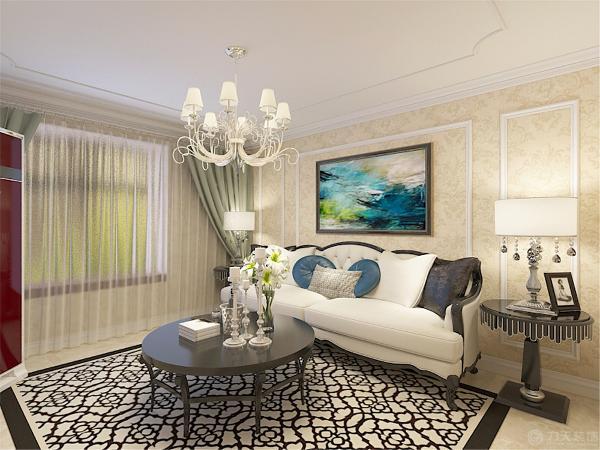客厅部分的顶面就体现的欧式的特点,用了欧式造型的石膏线作为装饰。沙发背景强面同样做了欧式的造型线,整体空间都是采用了欧式的浅黄色壁纸显得空间更加雅致
