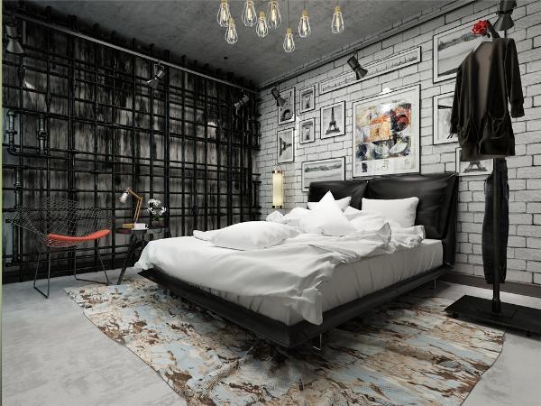 主卧整个空间采光一般,所以红色金属质的座椅来增加房间的色调感,加上旁边的一些金属管来点缀使整个卧室工业风更浓重。