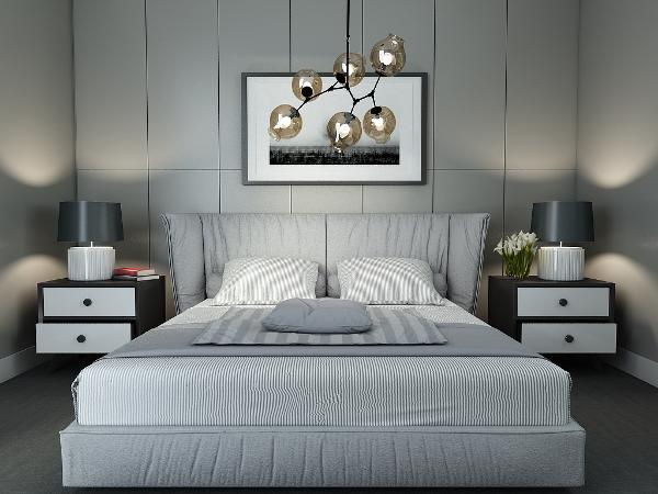 主卧室的床是白色,黑白背景画当背景墙使得层次更加清楚。