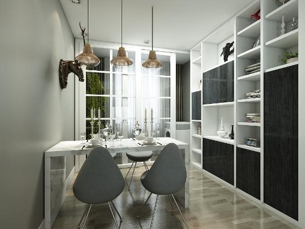 餐厅的背景墙上设有鹿头装饰物,显得不单调,还设有黑白相间的储物柜,增加收纳空间。
