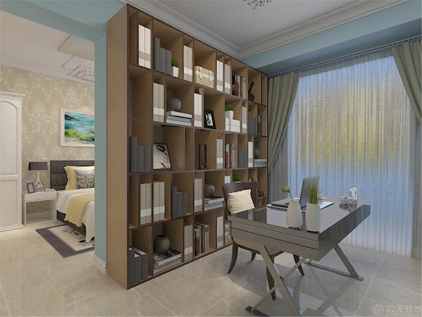 主卧室与书房在一起,卧室那边用于休息所以墙面贴的是浅色的壁纸,书房那边刷的天蓝色的乳胶漆,地面同样铺的是地砖。