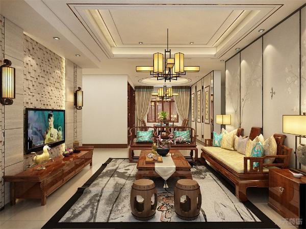 沙发背景墙采用的是传统中实木条纹,再加上一幅长画。电视背景墙采用的是抛光砖和文化砖做的,这样能使整个空间的层次更为分明。