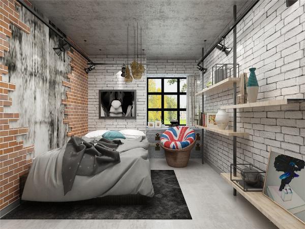 次卧采光较好,但是空间较小,所以摆放了一张单人床,旁边布置一些隔板来进行装饰,使得空间层次更加清楚。