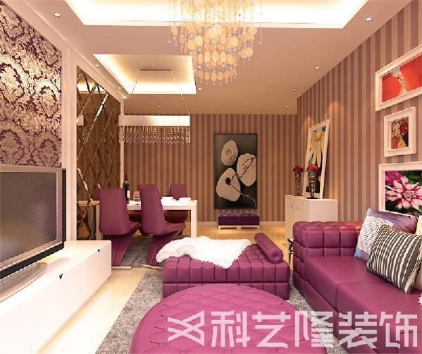 紫色是富贵,大气的象征,与白色家具的搭配,尽显华贵富丽,从而也减弱了紫色的跳跃性。客厅处用菱形镜面作为装饰墙,空间感增强了很多。卧室延续了客厅的色调,但加入了木色的调和,在现代中追寻着复古的感觉。