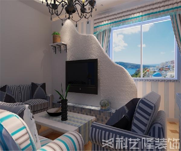 本户型因为客厅和餐厅居中整体大气,所以采用地中海风格。崇尚健康舒适,简约而华丽的时尚生活。以米蓝为色调,使空间整体感觉清新明亮,给人以温馨浪漫的感觉。