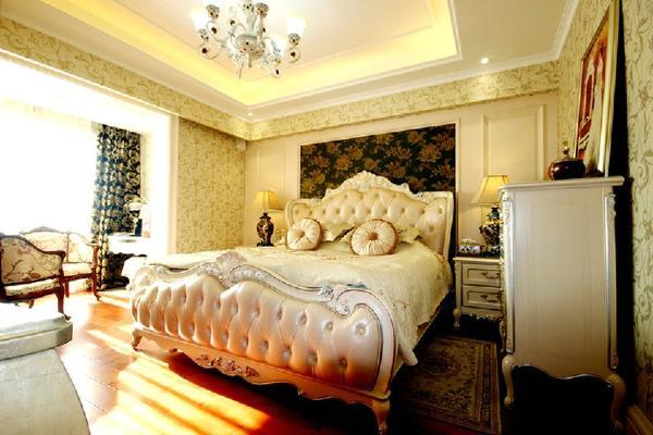 主人房床头的软包搭配上室内精美的装饰后,使卧室显得奢华大气。床的造型突显出巴洛克的风格,十足的气场加强了空间的感染力,置身其中充满能量。