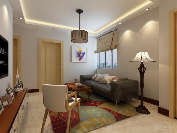 客厅设计讲究的是简约、稳重,深色的电视柜、浅色的茶几,沙发,餐桌使得整个空间即稳重又清新,布艺的沙发为空间增添温暖简洁干净的气息,沙发背靠窗户,光照也使空间看起来更干净