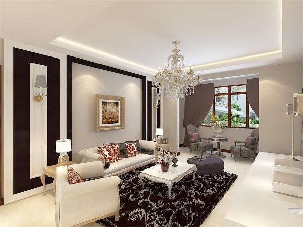 整体空间刚柔并济以黑白色为主色调,木色为辅调和活跃空间,简洁的沙发背景墙搭配一组米色的布艺沙发,深色抱枕地毯对比分明视觉冲击强烈,电视背景墙墙面彩绘增强空间的灵动性,思绪不限延伸