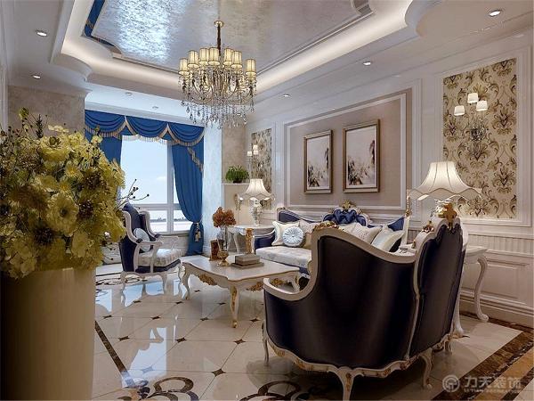 客厅餐厅主题色调定义为白色地面采用深咖、浅咖、白色瓷砖拼花、斜铺造型,墙面以壁纸、屏线、饰面板做为装饰,顶面灯池吊顶运用了弧线、圆形、背漆玻璃、银箔等使整体尽显华贵,与奢华。
