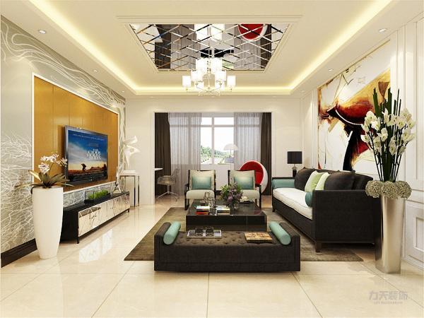 客厅空间讲究的是时尚的现代化气息,电视背景墙采用石膏板拉缝,配合橘黄色乳胶漆,彰显个性,地面整体通铺白色地砖使空间看起来更有时尚感,透着现代化的气息