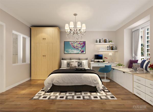 卧室的家具运用了白色的储物衣柜,床上的装饰颜色也给整体空间显得有些层次感,另一间卧室相对来说则比较偏向稳重,卧室里放置了办公学习的桌椅,给人想要静下心来学习的氛围